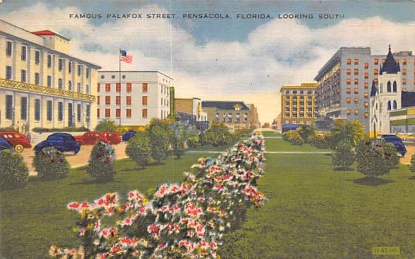 Famous Palafox Street Pensacola, Florida Postcard