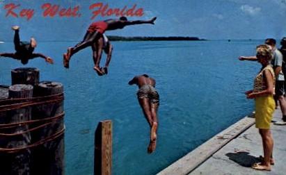 Divers on the Municipal Dock - Key West, Florida FL Postcard