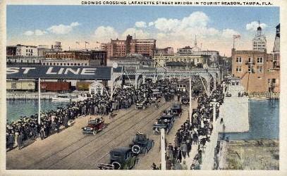 Crowds Crossing Lafayette Street Bridge - Tampa, Florida FL Postcard