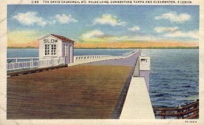 The Davis Causeway - Tampa, Florida FL Postcard