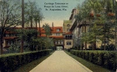 Carriage Entrance to Ponce de Leon Hotel - St Augustine, Florida FL Postcard