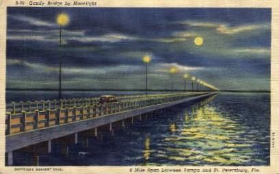 Gandy Bridge by Moonlight - Tampa, Florida FL Postcard