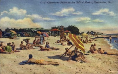 Clearwater Beach on the Gulf of Mexico - Florida FL Postcard