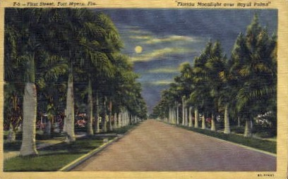 1st Street  - Fort Myers, Florida FL Postcard