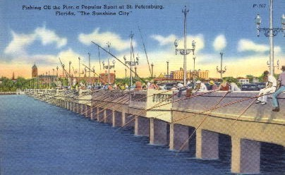 Fishing of the Pier - St Petersburg, Florida FL Postcard