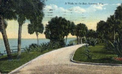 A Walk by the Bay - Sarasota, Florida FL Postcard
