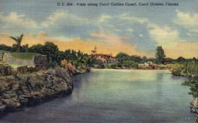 Vista along Coral Gables Canal - Florida FL Postcard