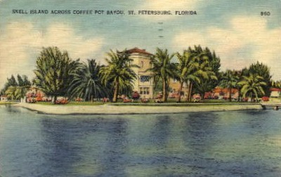 Snell Island Across Coffe Pot Bayou - St Petersburg, Florida FL Postcard