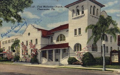 1st Methodist Church - Clearwater, Florida FL Postcard