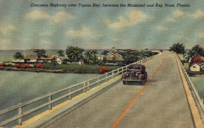 Overseas Highway over Pigeon Key - Key West, Florida FL Postcard