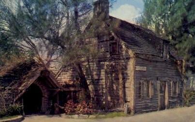 Oldest Wooden Schoolhouse in U.S.A. - St Augustine, Florida FL Postcard