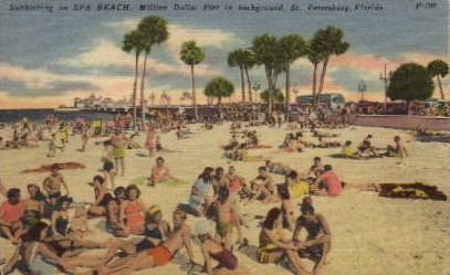Sunbathing on Spa Beach - St Petersburg, Florida FL Postcard