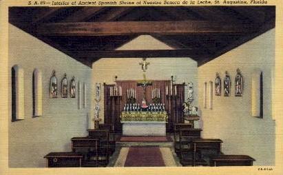 Interior of Ancient Spanish Shrine - St Augustine, Florida FL Postcard