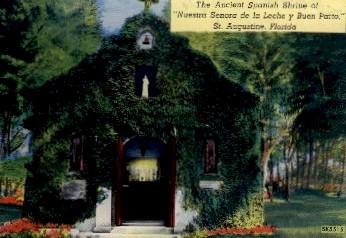 the Ancient Spanish Shrine - St Augustine, Florida FL Postcard