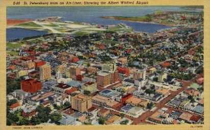 St. Petersburg from an Air-Liner - St Petersburg, Florida FL Postcard
