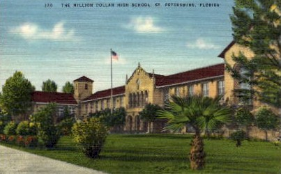 The Million Dollar High School - St Petersburg, Florida FL Postcard