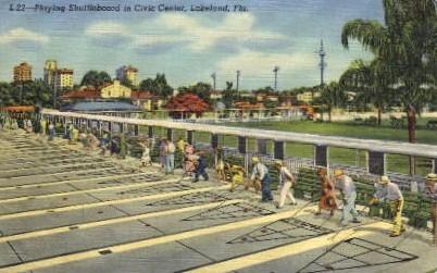 Playing Shuffleboard in Civic Center - Lakeland, Florida FL Postcard