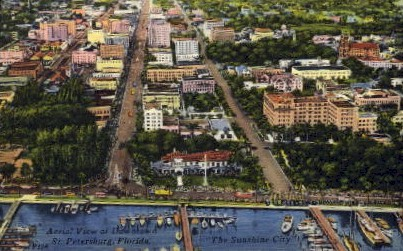 Aerial View of Downtown - St Petersburg, Florida FL Postcard