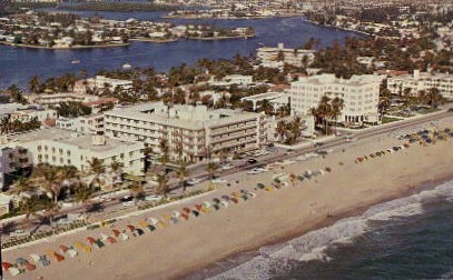 Aerial View of Beach - Fort Lauderdale, Florida FL Postcard