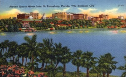 Skyline Across Mirror Lake - St Petersburg, Florida FL Postcard