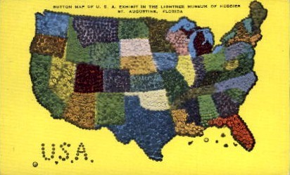 Button Map of the U.S. - St Augustine, Florida FL Postcard
