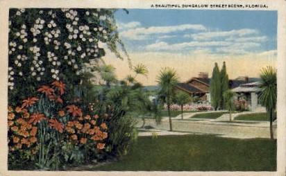 Bungalow Street Scene - Misc, Florida FL Postcard