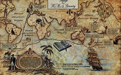 Map of Voyage of the Bounty - St Petersburg, Florida FL Postcard