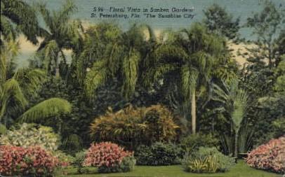Floral Vista in Sunken Gardens - St Petersburg, Florida FL Postcard