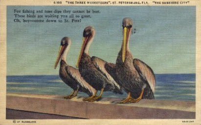 The Three Musketeers - St Petersburg, Florida FL Postcard