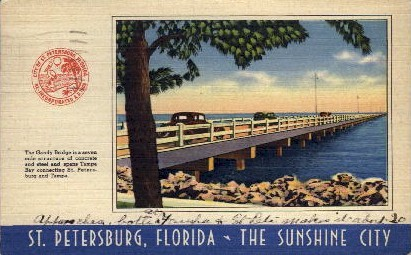 The Gandy Bridge - St Petersburg, Florida FL Postcard
