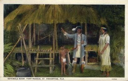 Seminole Room, Fort Marion - St Augustine, Florida FL Postcard