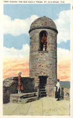 Fort Marion, The Old Watch Tower - St Augustine, Florida FL Postcard