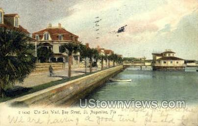 Sea Wall - St Augustine, Florida FL Postcard