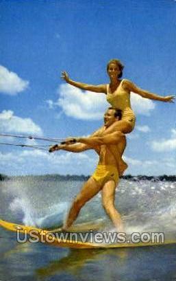 Ski Champs - Cypress Gardens, Florida FL Postcard