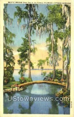 Rustic Bridge - Cypress Gardens, Florida FL Postcard
