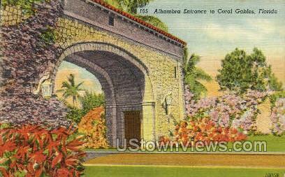 Alhambra Entrance - Coral Gables, Florida FL Postcard