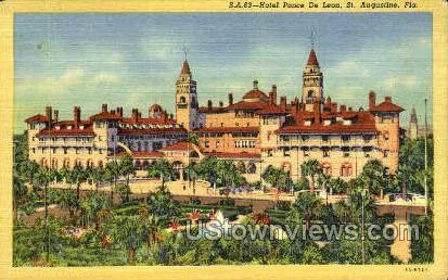Hotel Ponce De Leon - St Augustine, Florida FL Postcard