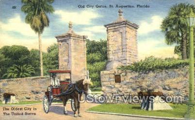 Old City Gates - St Augustine, Florida FL Postcard