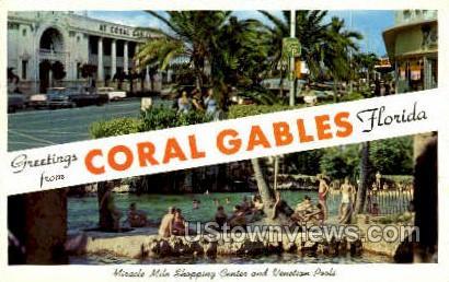 Shopping Center - Coral Gables, Florida FL Postcard