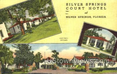 Silver Springs Court & Hotel - Florida FL Postcard