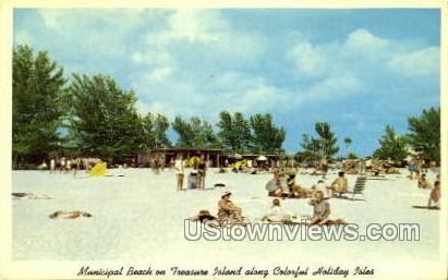 Municipal Beach - Gulf of Mexico, Florida FL Postcard