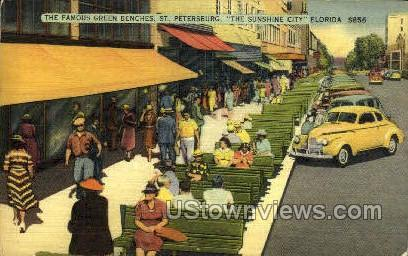Green Benches - St Petersburg, Florida FL Postcard