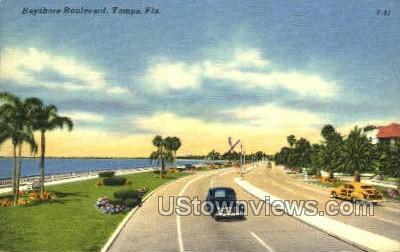 Bayshore Blvd - Tampa, Florida FL Postcard