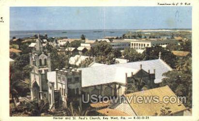 Harbor & St Paul's Church - Key West, Florida FL Postcard