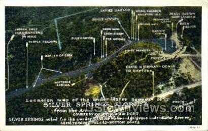 Map - Silver Springs, Florida FL Postcard