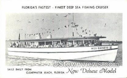 Deep Sea Fishing Cruiser - Clearwater Beach, Florida FL Postcard
