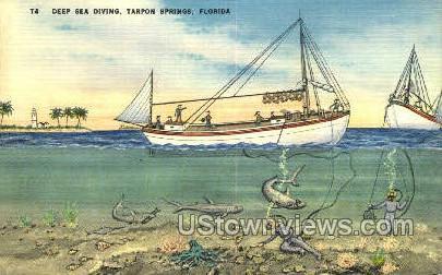 Deep Sea Diving - Tarpon Springs, Florida FL Postcard