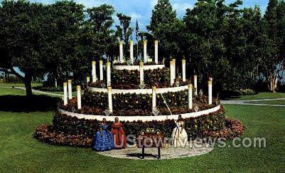 Floral Cake - Cypress Gardens, Florida FL Postcard