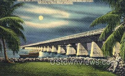 Highway Bridge - Key West, Florida FL Postcard