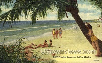 Tropical Scene - Gulf of Mexico, Florida FL Postcard